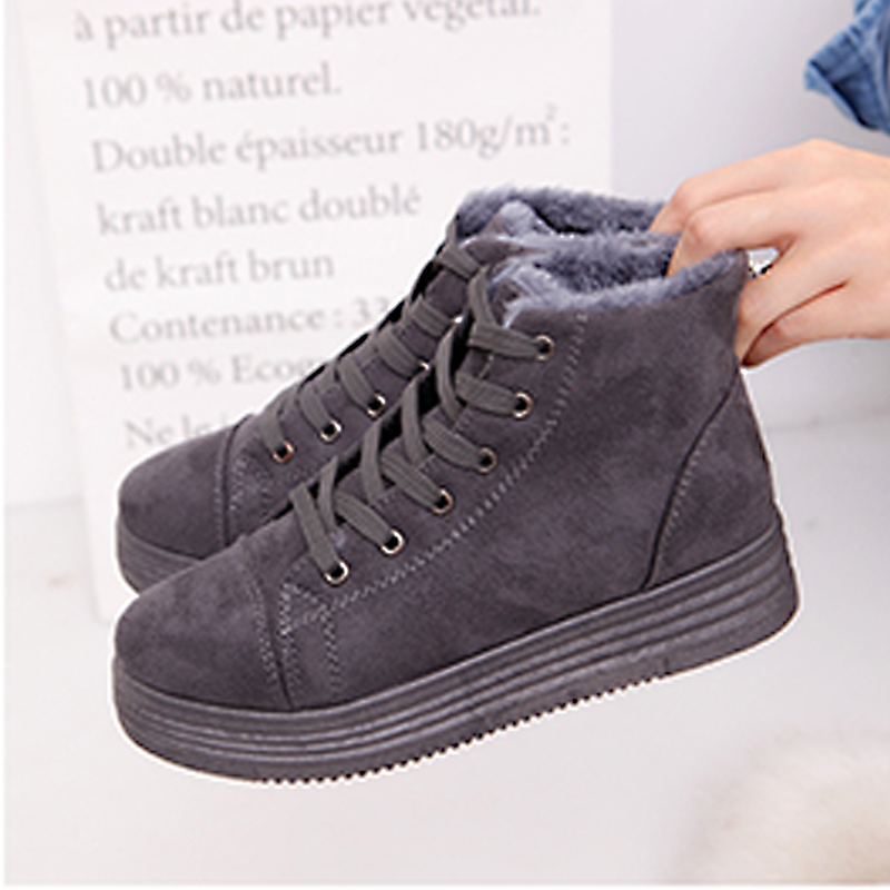 Women Snow Boots Winter Soft Fur Ankle Boots 2018 Fashion Ladies Lace Up Warm Winter Shoes Short Boots Plus Size QBT1055 taima brand new arrival winter fashion women boots warm fur ankle snow boots black ladies style winter women shoes page 2