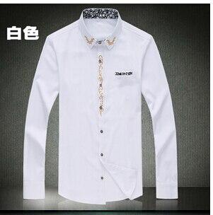 Мужская рубашка Camisa Masculina Vestidos размера плюс Новые однотонные рубашки с длинным рукавом Hombre размера плюс 7XL 6XL 5XL рубашки - Цвет: Белый