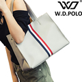 W.D. POLO Brown design stripe women handbags high capacity canvas lady tote fashion bag for traveling or shopping chic hot M1982