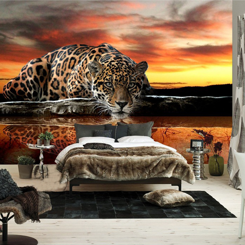 Custom Photo Wallpaper 3d Stereoscopic Animal Leopard
