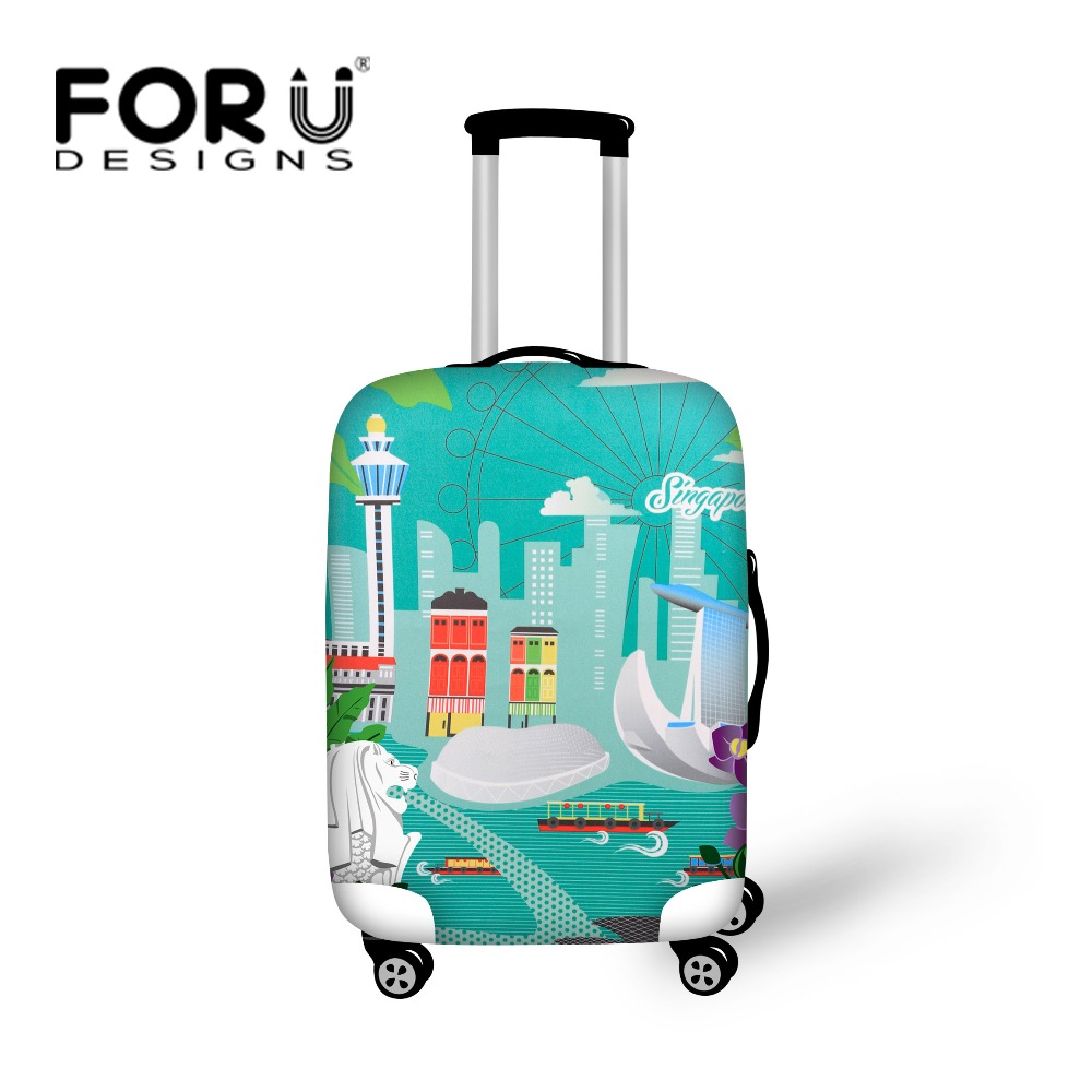 FORUDESIGNS 3D Protable Travel Trolley Accessories Luggage Covers 18-30 Inch Suitcase Bag Cover Protective Dust Elastic Cover