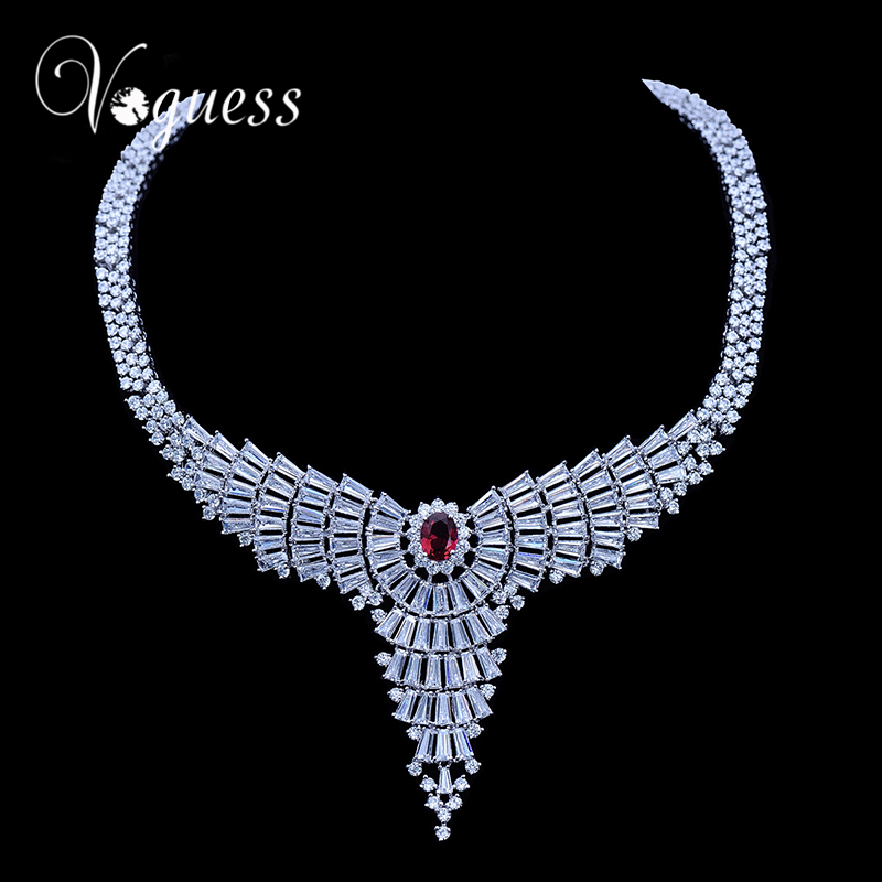 VOGUESS Luxury Zircon Crystal Choker Necklace Top Quality Fashion Statement Necklaces Wedding Jewelry Accessories