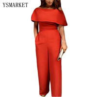 2017 Sexy Women Rompers Ruffle Fitted Jumpsuit Off Shoulder Wide Leg Red Long Pants Blue Elegant