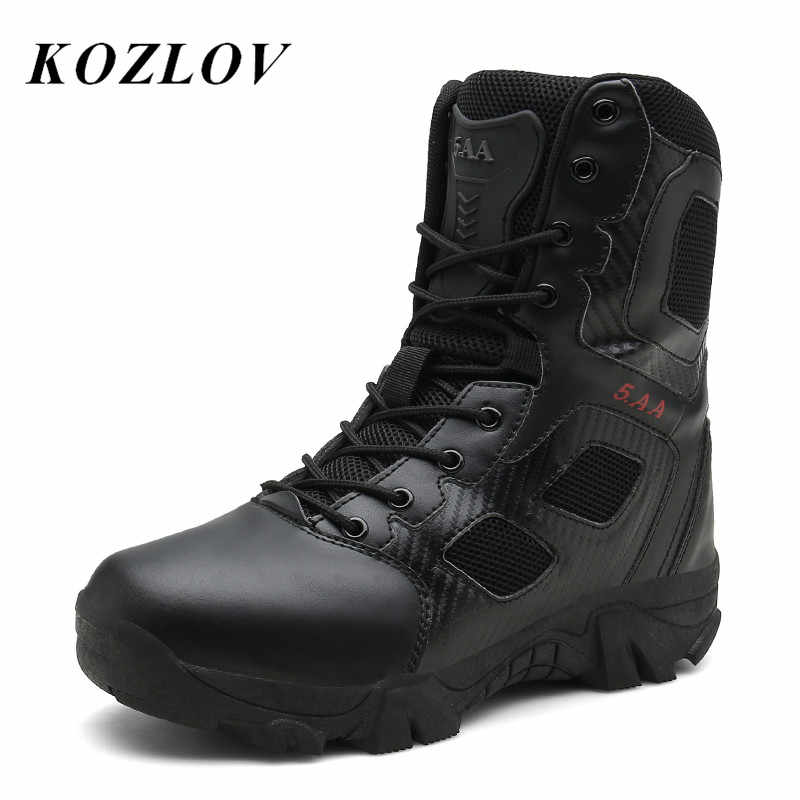 f168c0690d9 KOZLOV Military High Ankle Boots Men Genuine Leather Casual Safety ...