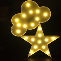 3D Marquee Cloud Led Night Light Warm White Star Christmas Tree Table Lamps For Kids Children