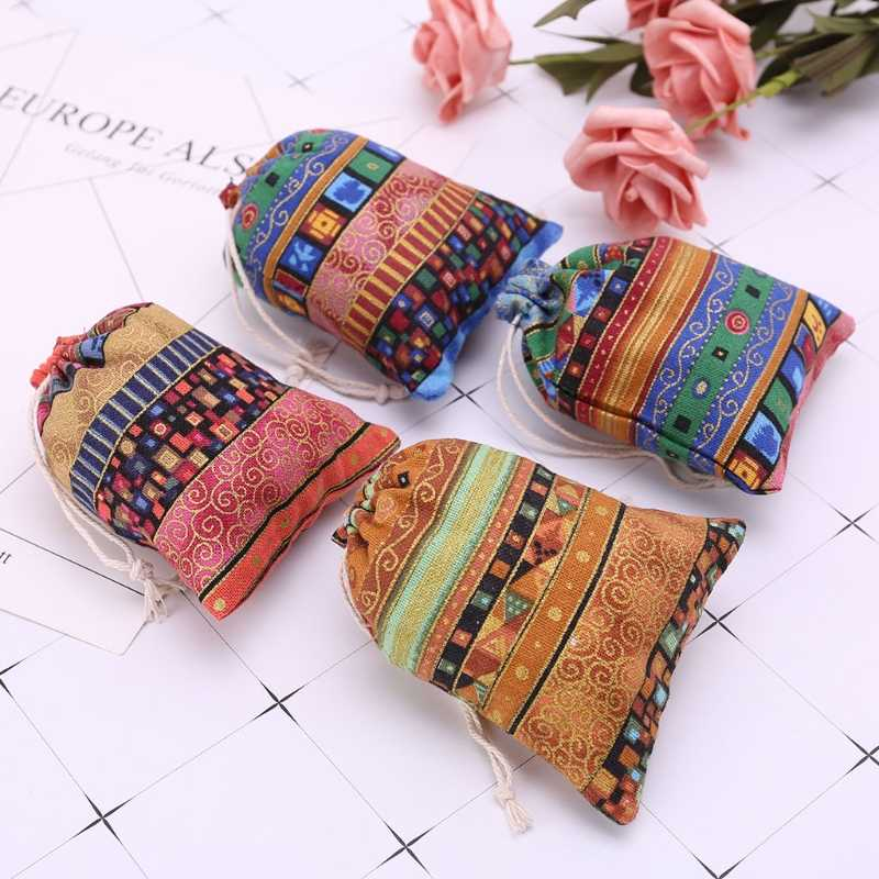 Drawstring Jewelry Pouch Cotton Linen Gift Bags Wedding Favors Egyptian Style