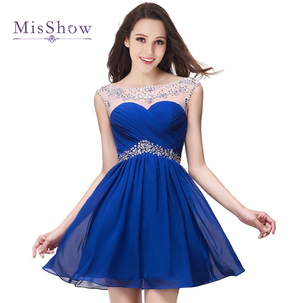 In Stock Sparkly Sheer Short Royal Blue   Cocktail     Dress   Sexy Backless Beaded Crystals Prom   Dresses   Vestido De Festa Curto