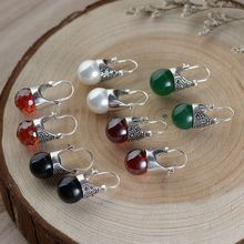 100% Real S925 sterling silver Antique craft women's inlaid bead agate red zircon Thai silver earrings s925 filaments shaolan craft silver inlaid huang yusui pendant in front of blessing silver supply