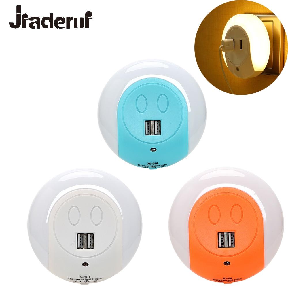 Jiaderui Light Sensor LED Baby Night Light with 2 USB Port for iPhone Charger Lamp Warm White Bedroom Bedside Lighing EU/US Plug 6 usb port ac power charger adapter w us plug for iphone ipad ipod samsung tablet pc white
