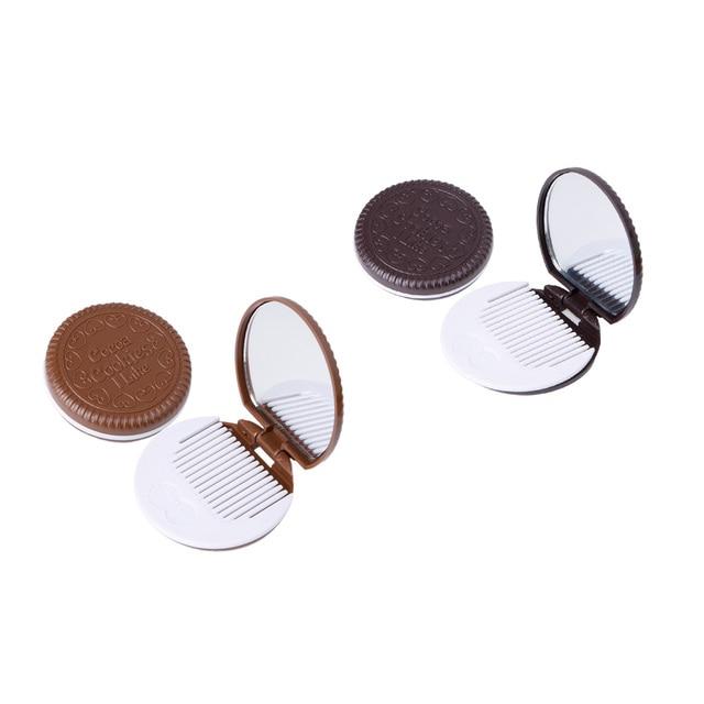 1 Juego de grosor 1,2 cm nuevo diseño encantador Mini espejo de maquillaje en forma de galleta espejo de bolsillo con peine café oscuro/ café Luz