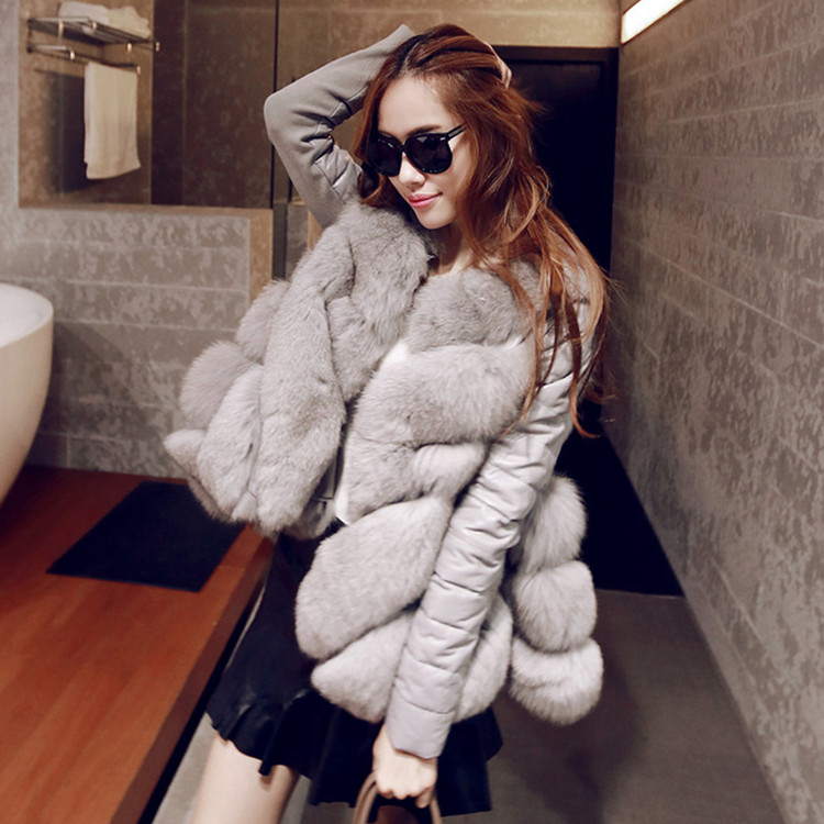 2016 New Winter Fox Fur Coat In Imitation Of A Words Long Cloak Coat Female Winter Jacket Women Down Coat 2017 winter new clothes to overcome the coat of women in the long reed rabbit hair fur fur coat fox raccoon fur collar