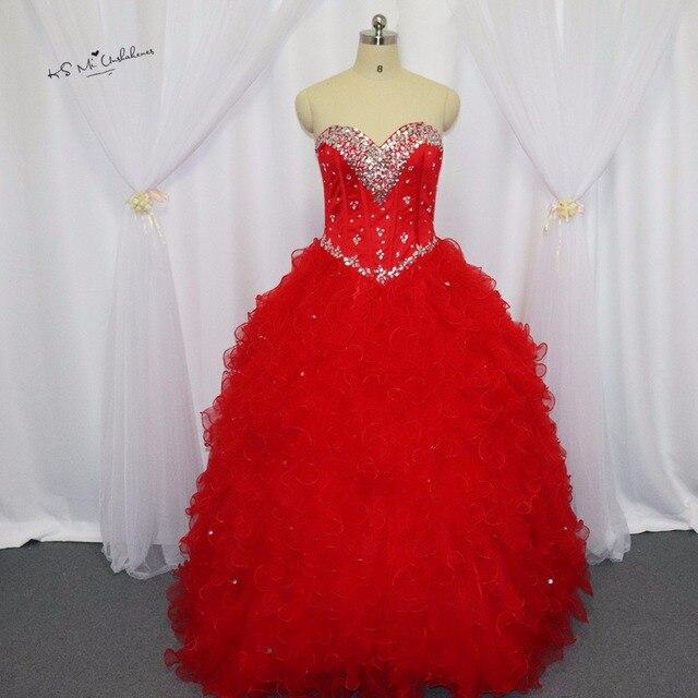 b4757c5a4d Vestidos de 15 anos Festa rojo barato vestido Vestidos de quinceañera  chaqueta Crystal ruffle Sweet 16