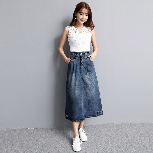 High Waist Denim Midi Skirt – Plus Size S-2XL