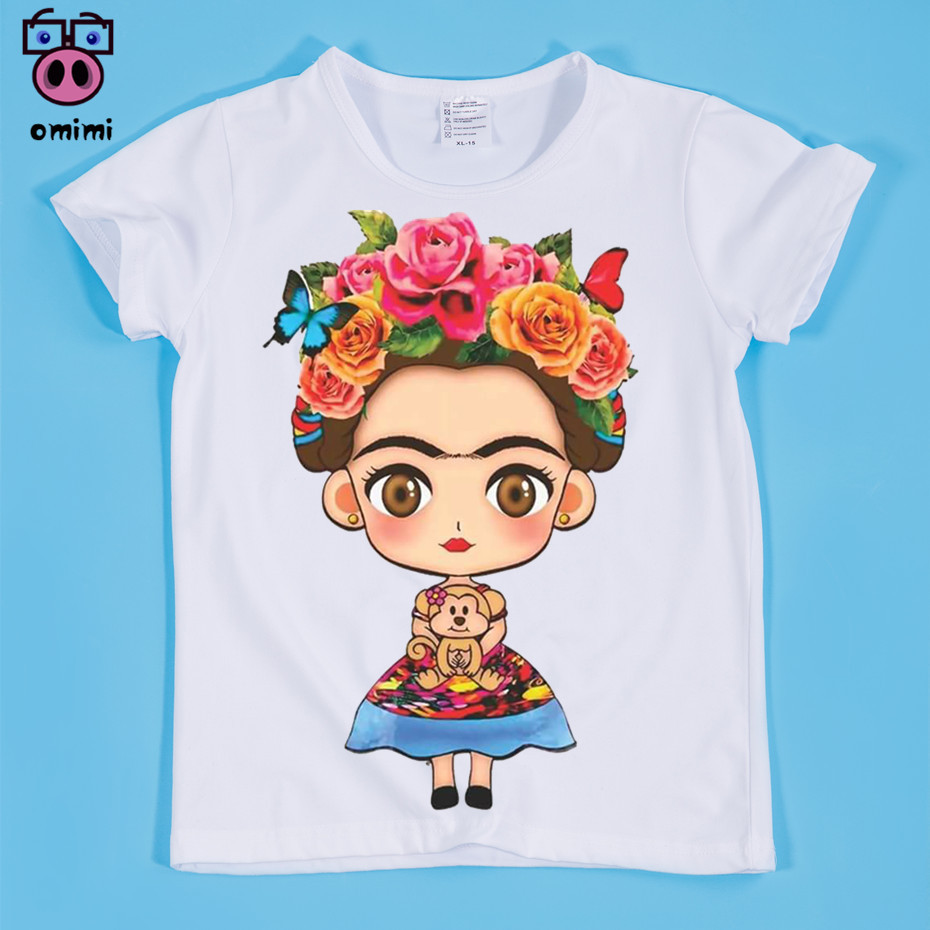 Size(90-160cm) Children's Frida Kahlo Print Cute Design Print T-shirt Boy and Girl Tee Shirt Kids Clothes Casual Baby T-Shirt striped print ringer t shirt