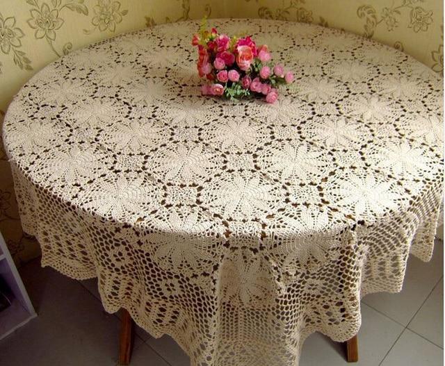 Nuevo hecho a mano flores de ganchillo paño de tabla cuadrado tejido ...