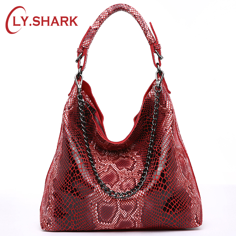 LY.SHARK Genuine Leather Bags For Women Female Handbag With Serpentine Pattern Leather Bag Hobos Tote Bag Chain Messenger Bags 100% genuine leather women bags luxury serpentine real leather women handbag new fashion messenger shoulder bag female totes 3