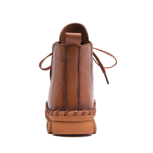 Image 3 - עור אמיתי נעלי נשים מגפי 2020 סתיו חורף אופנה בעבודת יד קרסול מגפי חם רך חיצוני מזדמן שטוח נעלי אישה
