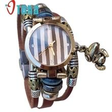 Творческий Модные женские дамская Наручные Кожаный Браслет Часы с Ретро Черный Циферблат Кварцевые Повседневная Часы