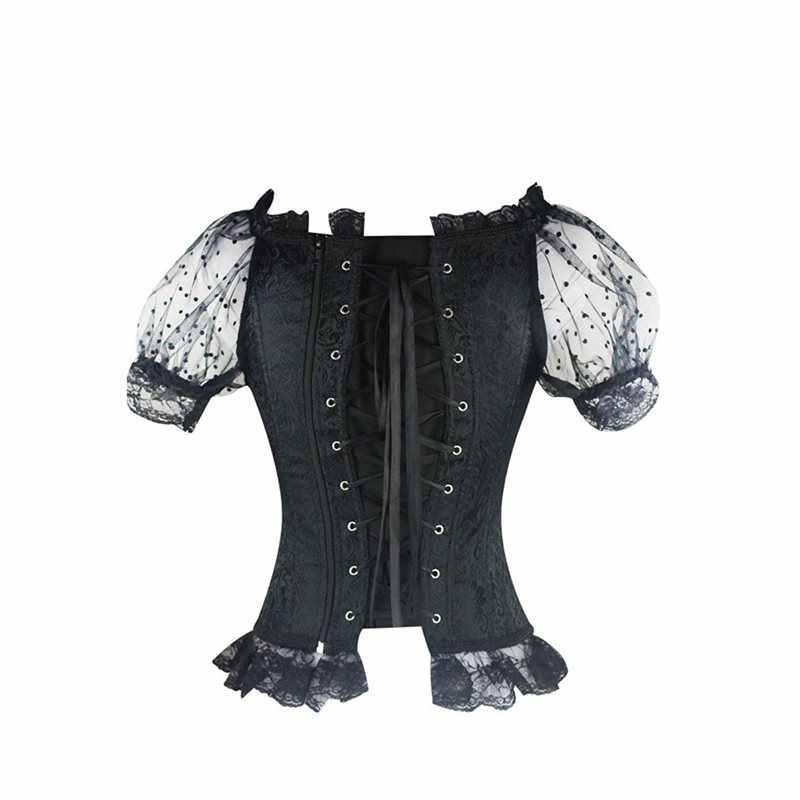 Женские корсеты винтажное соблазнительное нижнее белье, ночнушка Готический шик однотонный сетчатый кружевной комбинезон черный женский модный ретро синий корсет