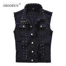 ABOORUN Punk Men's Denim Vest Black Rivets Slim fit Waistcoat Plus Size 5XL Sleeveless Jacket Streetwear for Male YC1346