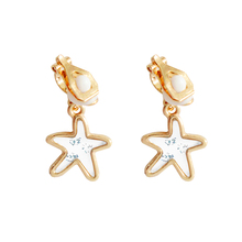 SANSUMMER Earings Fashion Jewelry Personality Metal Starfish Earrings Transparent Acrylic Pearl Clip 5600