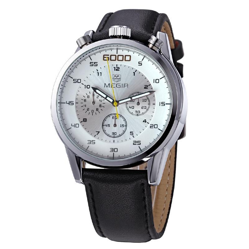 2508 Genuine Leather Watch Men Luxury Brand Chronograph Auto Date Sports Watches Fashion Casual Wristwatch Free