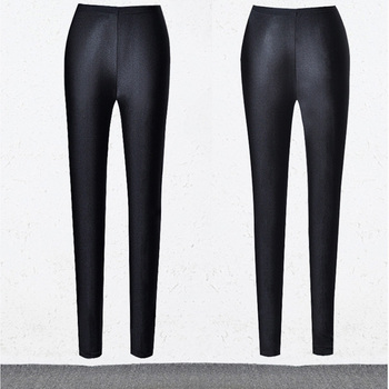 BIVIGAOS Womens Sexy Shiny Stretch Leggings Thin Ankle Pants Legins Slim Black Leggings Gothic Trousers For Women Clothing 8