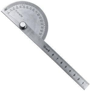 Image 5 - נירוסטה עגול ראש 180 תואר מד זוית זווית Finder רוטרי מדידת שליט מכונאי כלי 10cm אומן שליט