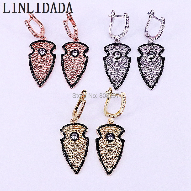 3Pair Mix Color Paved Shiny Crystal Cz Arrow Design Metal Jewelry Dangle Earrings For Women LL-E001