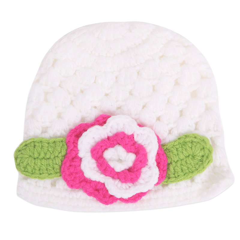 Fashion Cute Lovely Baby Girl Hats Big Flower Baby Kids  Toddler Girl Warm Winter Beanie Knit Floar Wool Hat Cap Free Ship new arrival lovely newborn hospital hat cute girls baby hats with flower bowknot flower hat high quality