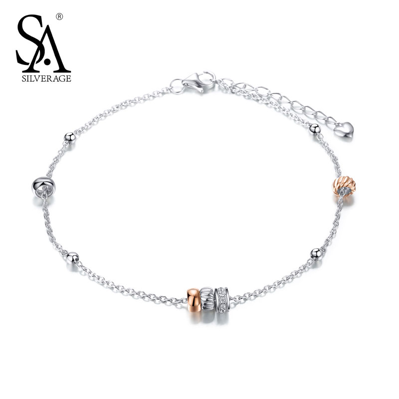 SA SILVERAGE 925 Sterling Silver font b Anklets b font For Women Sexy Chain font b