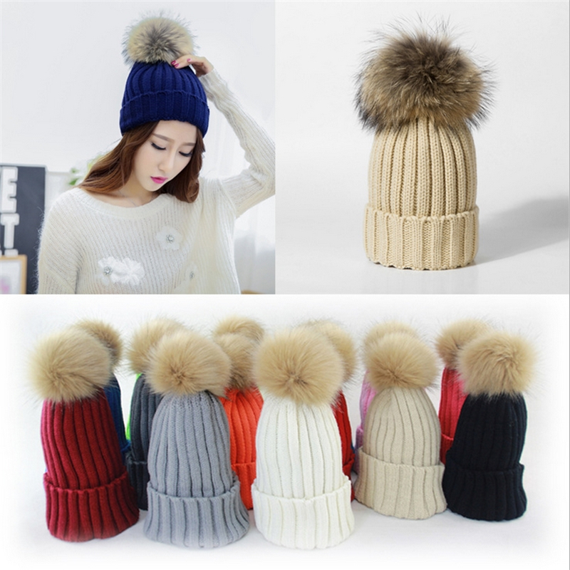 fashion winter thick hats unisex couples knitted pompoms hats Raccoon Fur ball caps men & women skullies & beanies