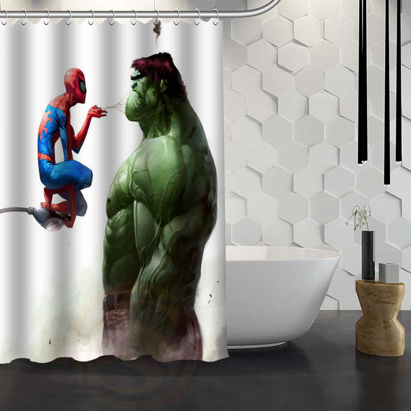 Custom Hulk Marvel Shower Curtain Waterproof Fabric Bath For Bathroom WJY117