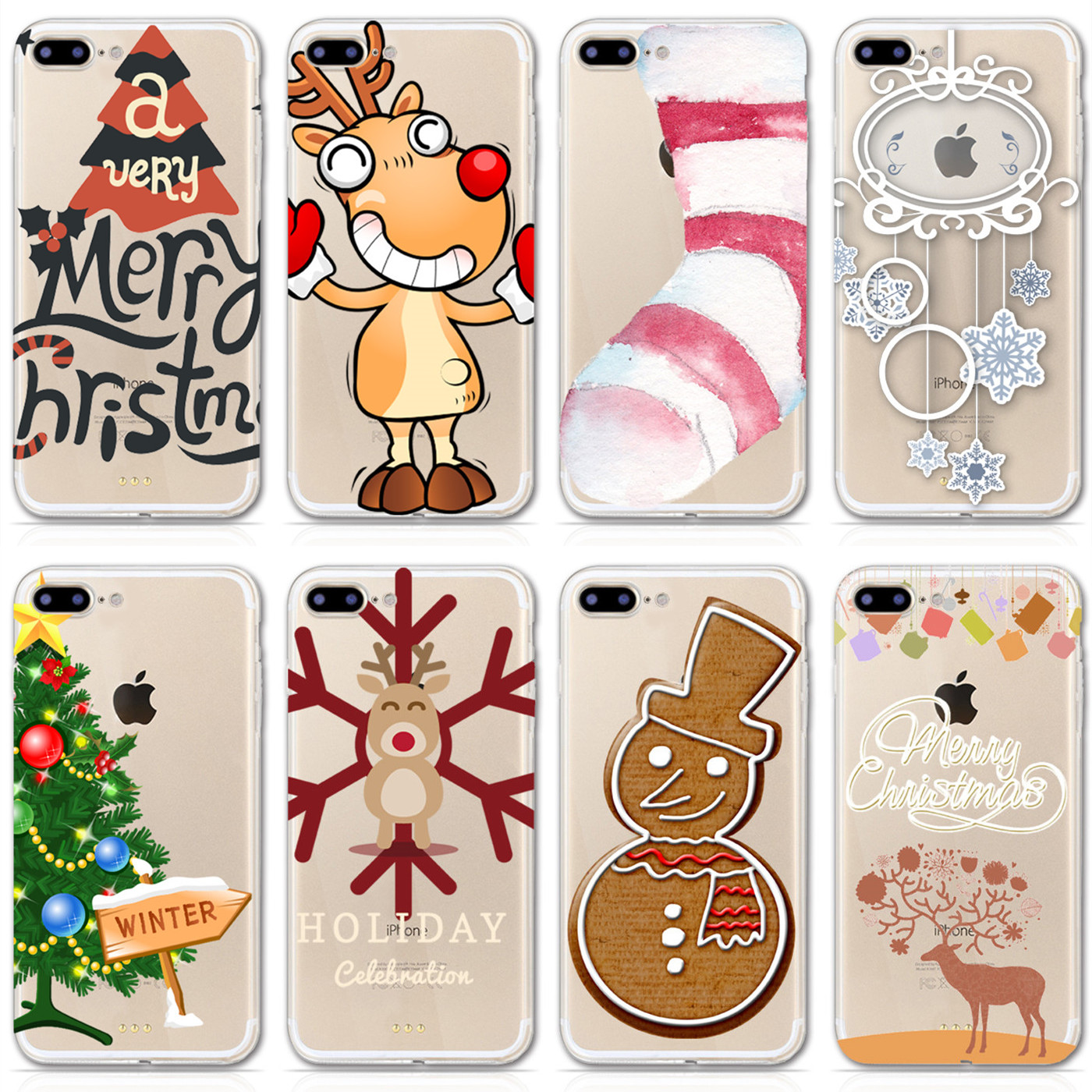 Clear Silicone Soft Phone Case For iPhone 6 6s 5 5s Plus Christmas Tree Elk Snowman Pattern Cape Back Cover for iPhone 7 Plus