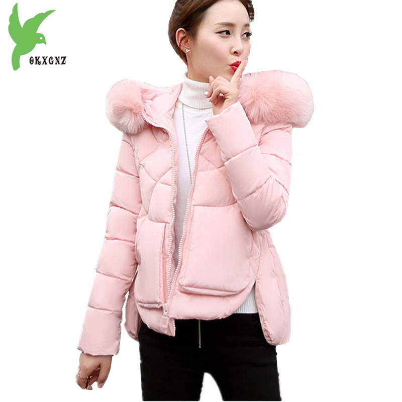 New Fashion Winter Women Short Feather Cotton Jackets Solid Color Hooded Fur Collar Student Clothes Casual Tops Coat OKXGNZ A829 new winter women feather cotton jackets solid color hooded long coat plus size loose keep warm casual tops outerwear okxgnz a635