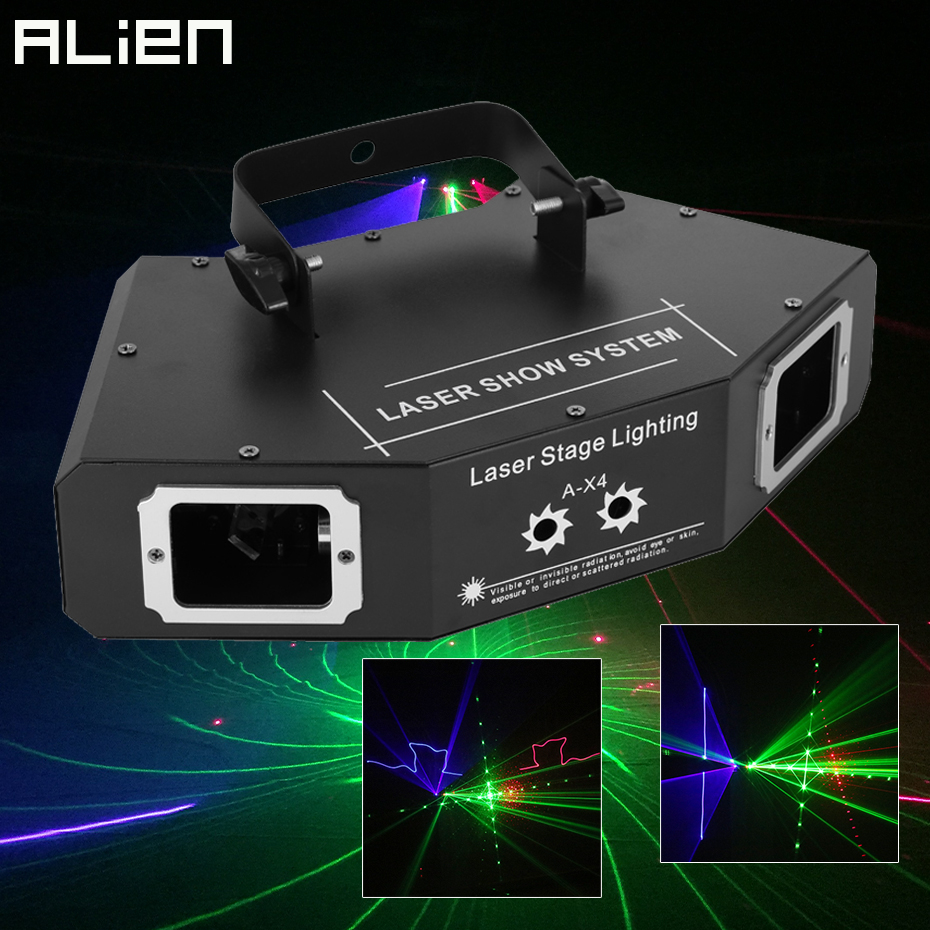 ALIEN 25 Patterns Full Color Laser Scanner Projector DMX Stage Lighting Effect DJ Disco Bar Party Holiday Dance Christmas Lights