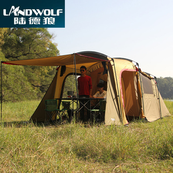 Landwolf Special large outdoor camping 1big hall 1 Bedroom for 5-6 people big family party travel team tent in kakhi color 2015 new style high quality double layer untralarge one hall one bedroom family party camping tent