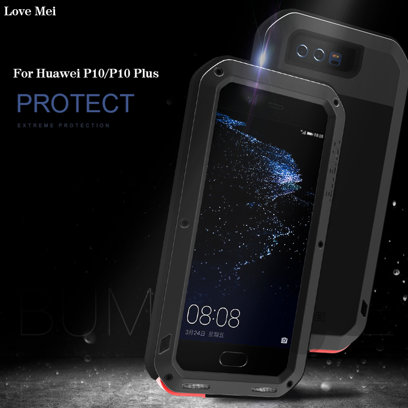 LoveMei For Huawei P10 Plus Case Luxury Powerful Hard Metal Aluminum+Soft Silicone Armor Full Protective Back Phone Case CoverLoveMei For Huawei P10 Plus Case Luxury Powerful Hard Metal Aluminum+Soft Silicone Armor Full Protective Back Phone Case Cover