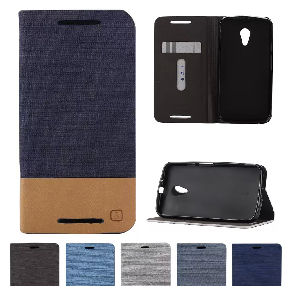 Case For Motorola Moto G 2nd Gen G2 G 2 G+1 XT1 XT1063 XT1068 XT1069 Denim Case Flip Leather Phone Cover For New Moto G LTE para