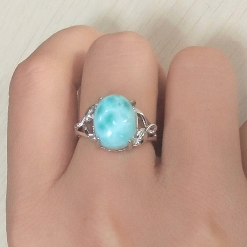 Antique Larimar Gemstone Rings in 925 Sterling Silver, Natural Ocean Stone Blue Crystal Size Free Adjustable Finger Ring Band