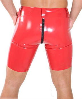 Fashion Sexy Red Latex Shorts Men Fetish Male Rubber Underwear with Crotch Zipper Plus Size Hot Sale