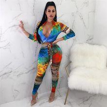 a4566c82660 2019 Winter Fashion Women Multi Print S-XXL Overalls Jumpsuit Zipper  Turtleneck Long Sleeve Belt Rompers
