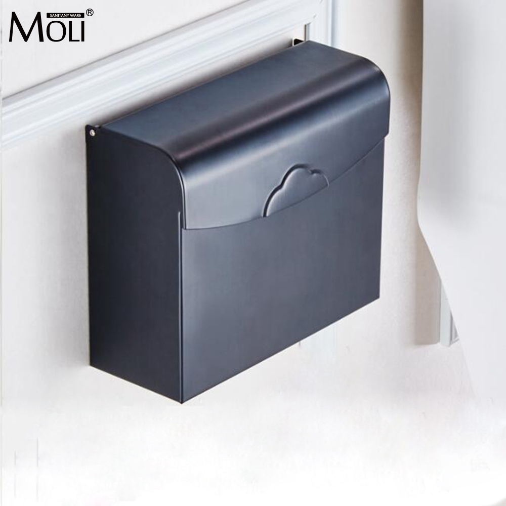 Bathroom Toilet Paper Holder Wall Mounted Waterproof Tissue Box Oil Rubble Bronze Finished x 3309 v folded paper dispenser abs plastic wall mounted paper holder home hotel toilet paper box