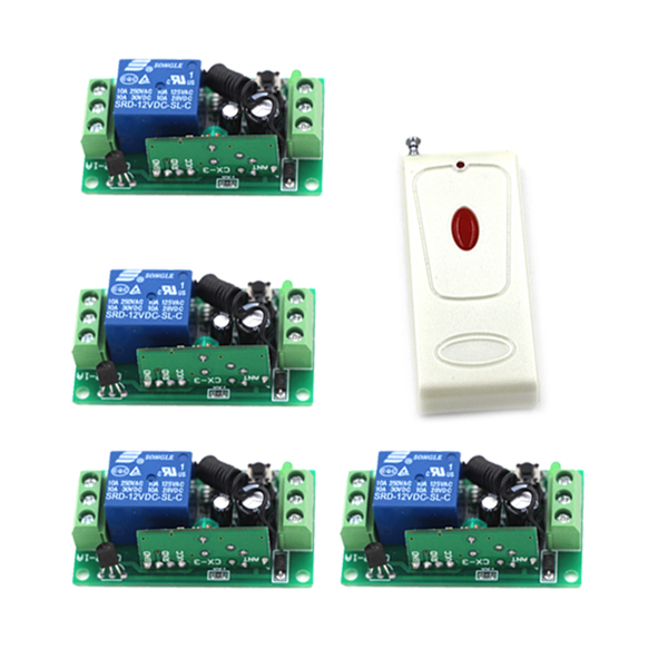 Hot remote control switch 12v rf garage door remote control learning code relays self-lock rf switches 4382 hot sales rf wireless remote switch control 12v 1channels 4 relays 1 receiver