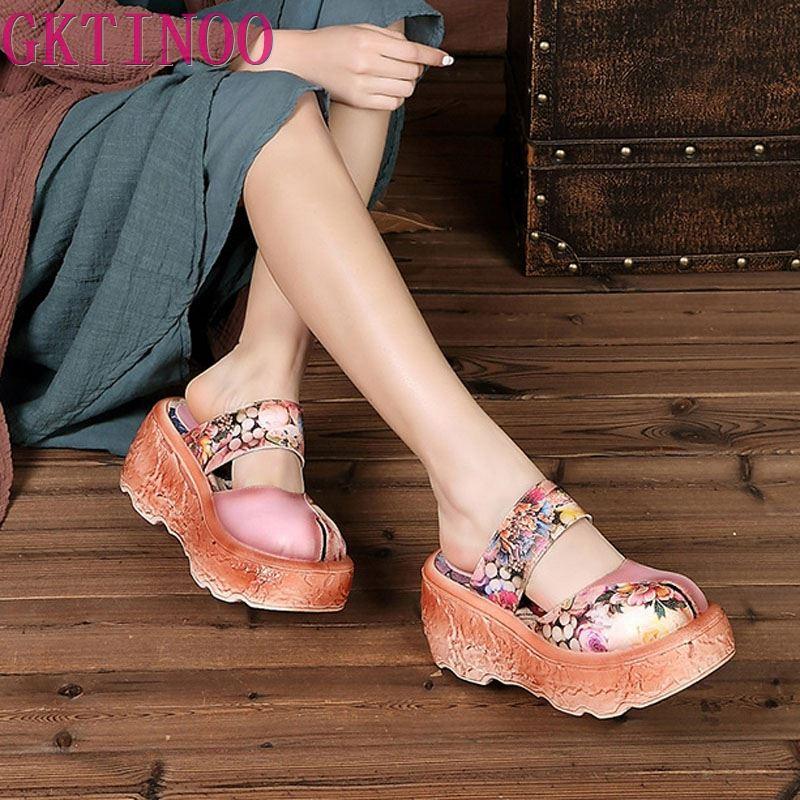 GKTINOO Genuine Leather Women Sandals 2019 Retro Summer Shoes High Heels Sandals Soft Leather Handmade Women