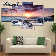 FULLCANG diy diamond painting sunrise scenery full drill cross stitch 5pcs mosaic embroidery kits handmade decor hobby G1263 fullcang diy 5pcs full square diamond embroidery wolf and scenery diamond painting cross stitch 5d mosaic needlework kits d952