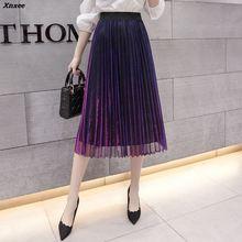 Summer Women Long Pleated Skirt Elegant Solid Retro Skirts Female Elastic High Waist Woman Jupe Femme faldas Xnxee