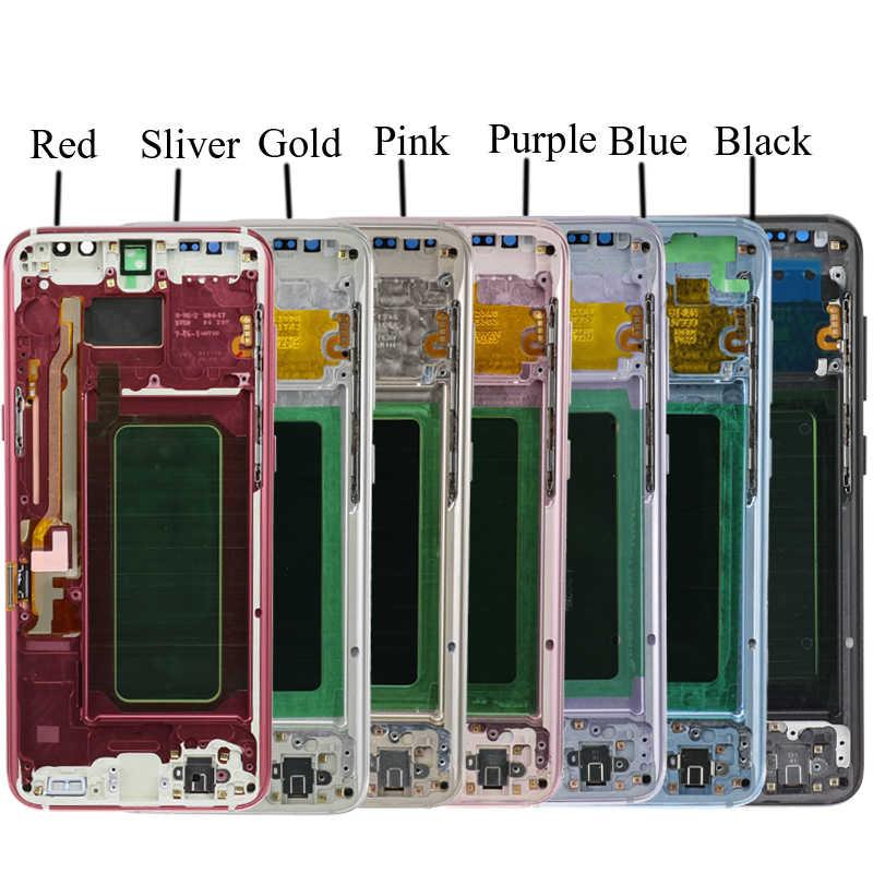 الأصلي S8 S8plus شاشة عرض لسامسونج غالاكسي S8 قطع غيار للشاشة LCD مجموعة رقمنة اللمس G950F G955 مع الإطار