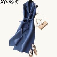 AYUNSUE 2019 Autumn Winter Women's Vest Wool Coat Female Long Vests With Belt Waistcoat for Women jaqueta feminina WYQ1231