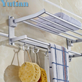 Bathroom towel holder, Foldable  towel rack, oxidation aluminium  towel rack with hooks YT-4003